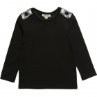 BURBERRY Boys Black Cotton Long Sleeved T-Shirt