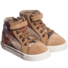 BURBERRY Suede Leather & Canvas High-Top Trainers