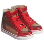 BURBERRY Red Nova Check High-Top Trainers
