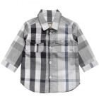 BURBERRY Baby Boys Grey Cotton 'Exploded Check' Shirt