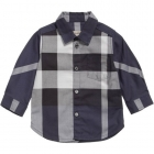 BURBERRY Boys Navy Blue Check Cotton Shirt