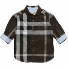 BURBERRY Boys Khaki Green Check Cotton Twill Shirt