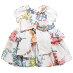 Roberto Cavalli baby girls adorable floral dress in luxuriously soft silk. The dress has a cotton lining and layered skirt to create a full shape.