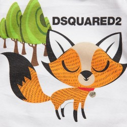 DSQUARED²【ディースクエアード】 White Cotton Jersey Romper, Hat and Toy Gift Set fox