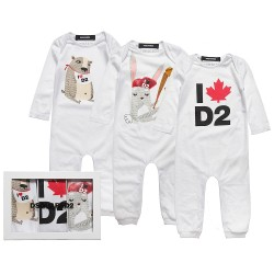 DSQUARED²【ディースクエアード】 White Cotton Rompers (Pack of 3)