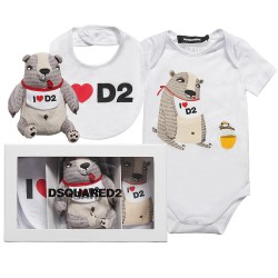 DSQUARED²【ディースクエアード】 White Cotton Jersey Romper, Hat and Toy Gift Set2