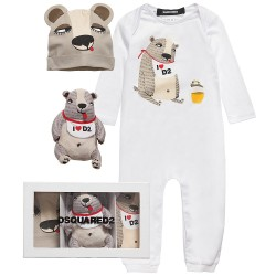 DSQUARED²【ディースクエアード】 White Cotton Jersey Romper, Hat and Toy Gift Set
