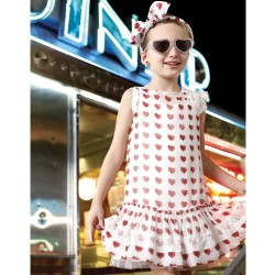 MONNALISA Heart Print Chiffon Dress モナリザ女の子2014春夏43-C2