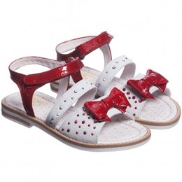 MONNALISA Girls Red and Ivory Leather Sandals