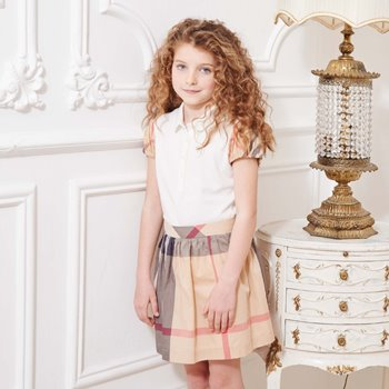 burberry-beige-classic-check-cotton-skirt-バーバリー子供 女の子 スカート