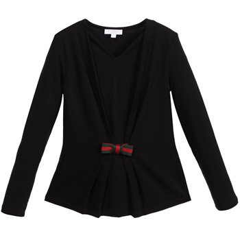 gucci-girls-black-jersey-top-with-pleated-front-グッチ_子供_海外通販_キッズ_コート_カーディガン_通販