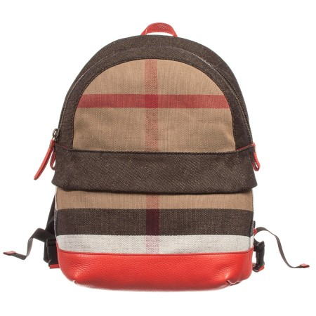 burberry-beige-check-canvas-backpack-with-red-leather-バーバリー出産祝い_個人輸入_バーバリーチルドレン